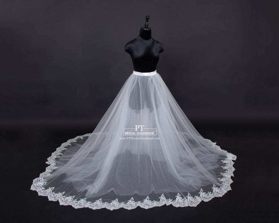 Hochzeit - Lace Bridal Overskirt #101, Tulle Bridal Overskirt , Detachable Overskirt, Wedding Skirt, Custom Bridal Skirt, Custom Tulle Skirt