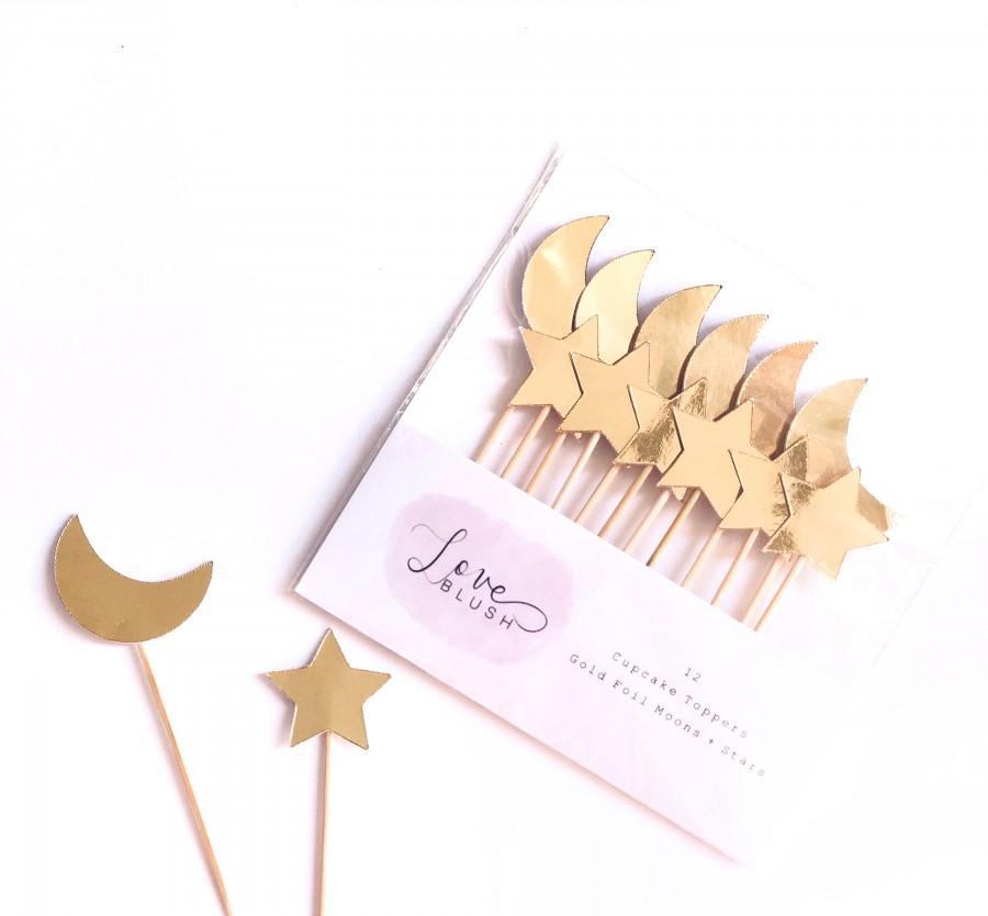 Свадьба - Moon + Star Cupcake Toppers