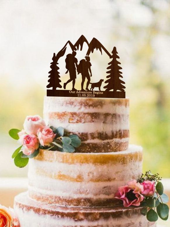 Wedding - Hiking Wedding Cake Topper, Hiking Couple with dog, Love at First Hike, Mountain Climbers, Mountains cake topper, Our Adventure Begins