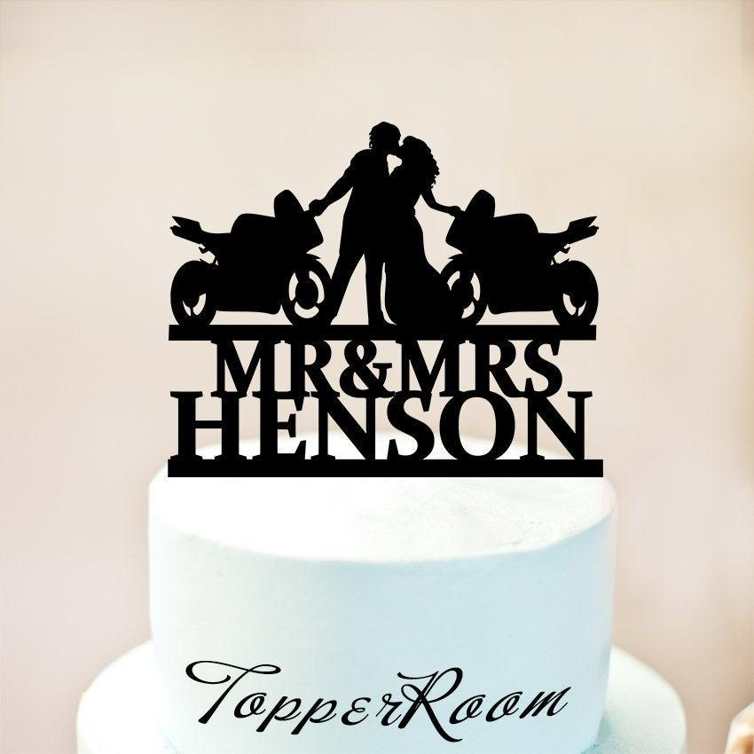 Свадьба - Couple with Motorcycle Cake Topper with Name,Bride and Groom Cake Topper,Biker Cake Topper Personalized,Wedding Cake Topper,Motorbike   1313