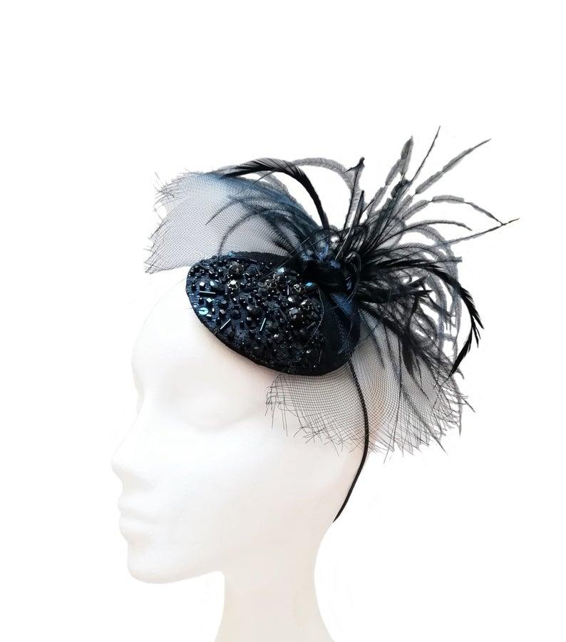 Свадьба - Black fascinator with bow and feathers, TRP-002