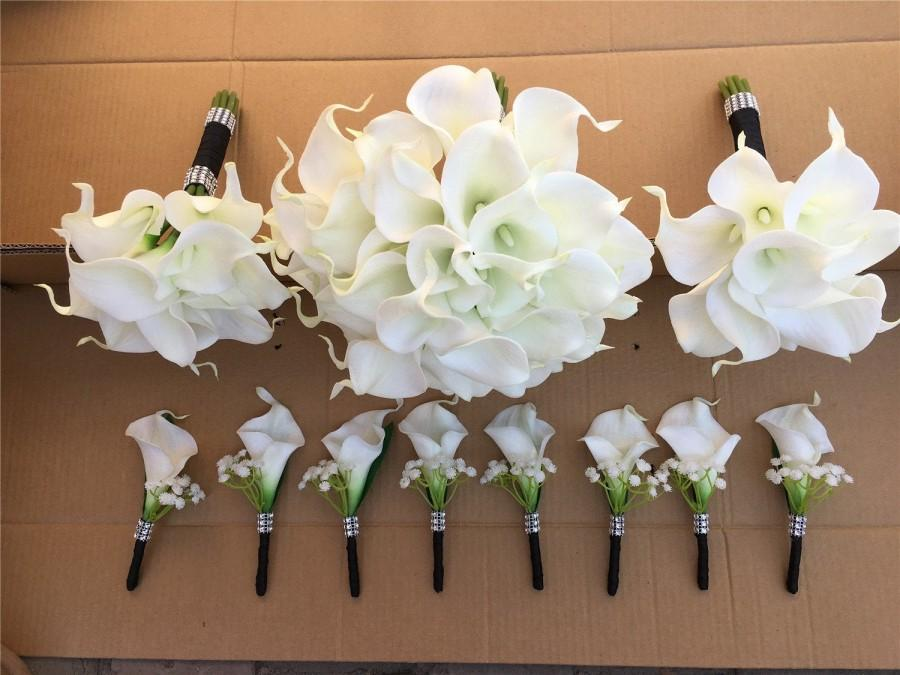 Свадьба - White Calla Lilly Bouquet White Bridal Bouquet Bridesmaids Bouquet White Call Lily Boutonniere PU Real Touch Calla Lilies Bouquets DJ-77
