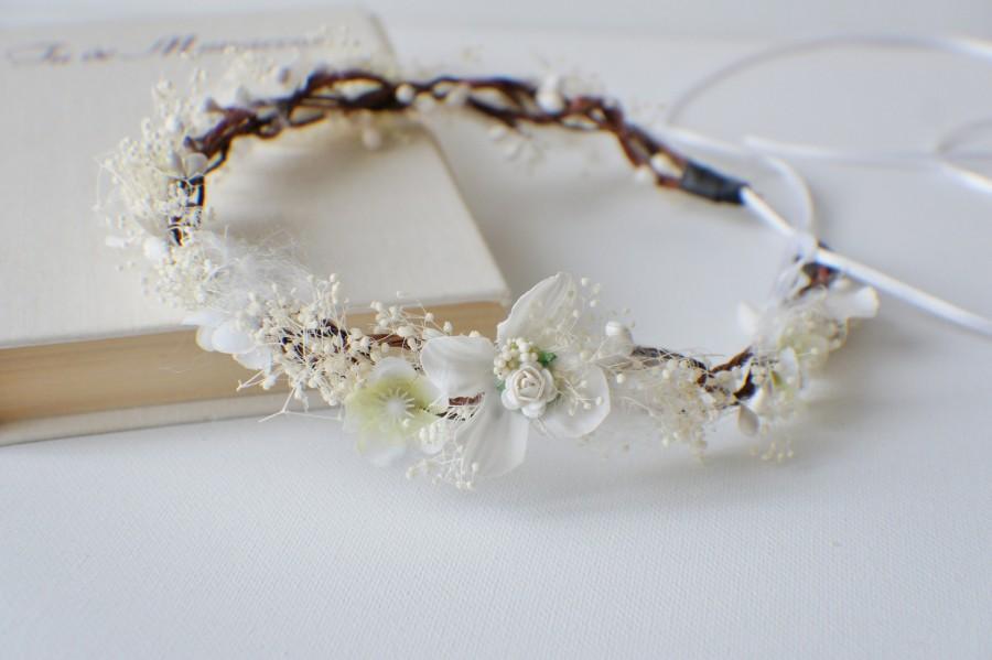 Свадьба - Boho Hair Crown, Bridal Flower Crown, Woodland Wedding Head Piece, Baby's Breath Flower Crown, Bridal Headpiece, Rustic Crown, Photo Prop