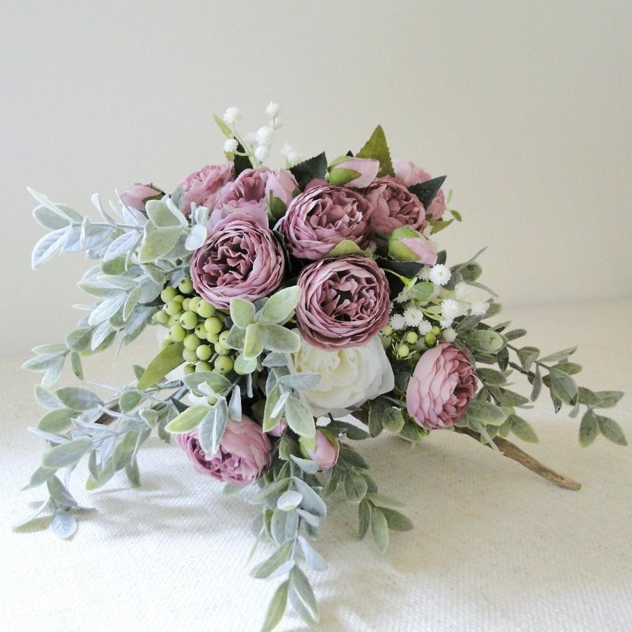 Wedding - Wedding bouquet white mauve roses, bridal bouquet eucalyptus greenery, garden wedding bouquet artificial flower bouquet, boho wedding flower