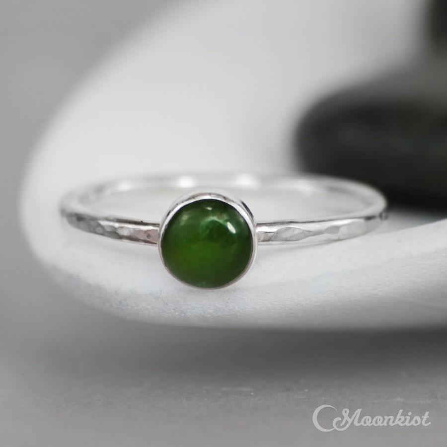 Mariage - Jade Promise Ring for Her - Sterling Silver Green Gemstone Ring - Bezel-Set Jade Ring - Simple Ring - Round Stacking Ring - Jade Stack Ring