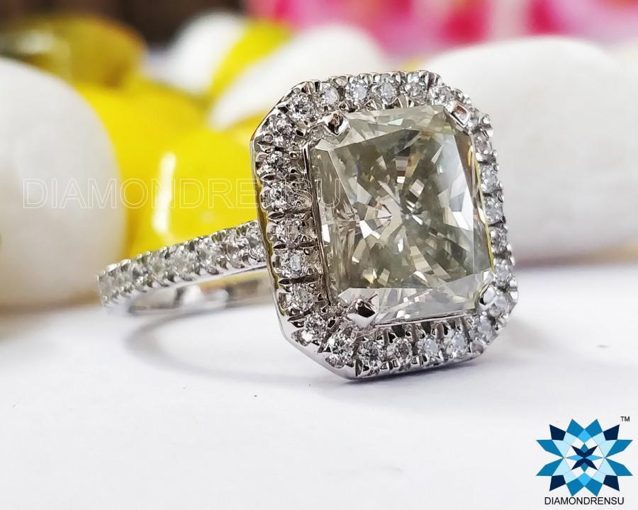 Mariage - Radiant Halo Engagement Ring, 2.0 CT Radiant Off White Greenish Moissanite Ring, Wedding Ring, White Gold Ring, Designer Ring, Anniversary