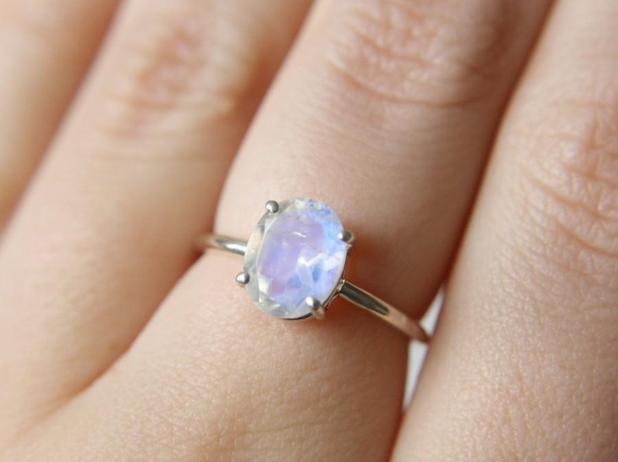 Mariage - Faceted Moonstone Ring, Moonstone Engagement Ring, Rainbow Moonstone Ring, 9x7 Oval Moonstone Ring, Moonstone Solitaire, June Birthstone