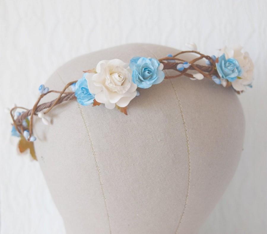 Свадьба - Blue Rose Flower Circlet, rose and pip flower crown, bridal hair accessories, wedding hair accessories, flower crown floral crown, -AURORA-