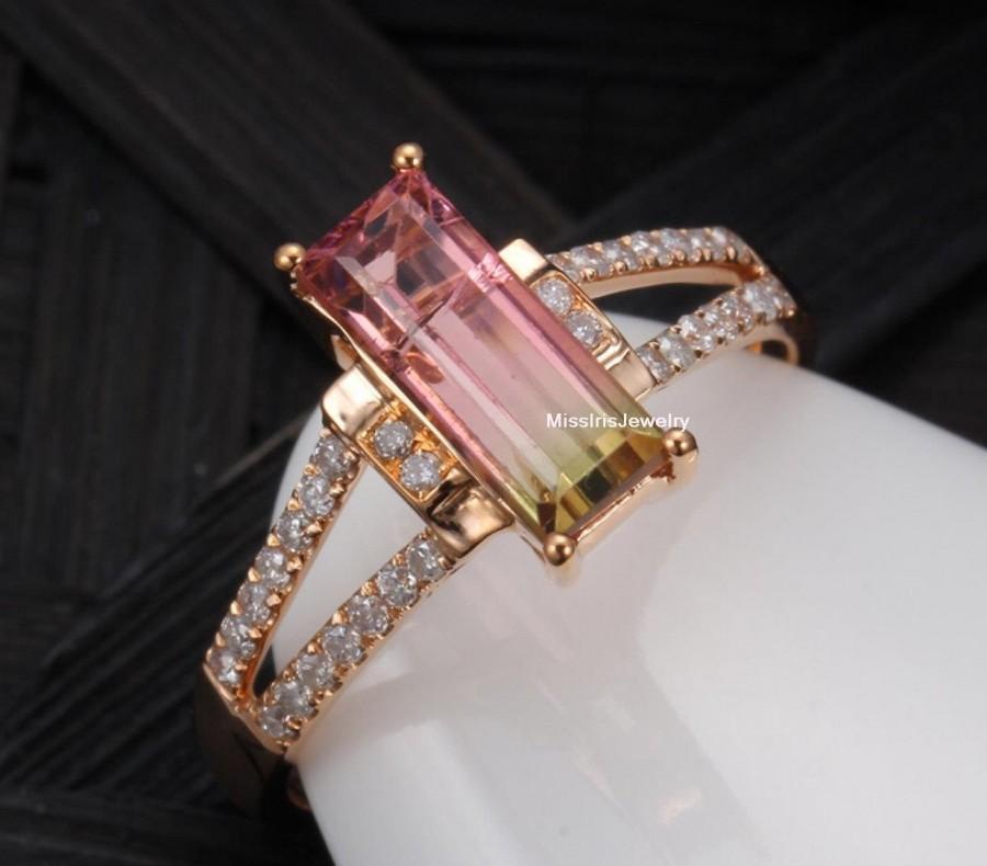 Mariage - Watermelon Tourmaline Engagement Ring (Bi-color Tourmaline)