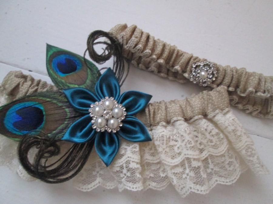Свадьба - Peacock Wedding Garter Set, Burlap Garter, Oasis Teal Garter, Ivory Lace Rustic Garter, Something Blue, Deep Dark Teal