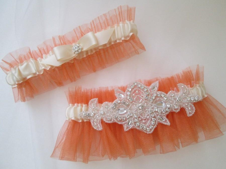 Свадьба - Burnt Orange Bridal Garter Set, Rustic Garter Set, Ivory Bridal Garters with Bling / Rhinestone, Pumpkin Orange Garter, Fall / Autumn Bride