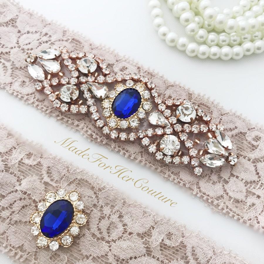 Свадьба - Antique Blush Wedding Garter, Something  Blue Wedding Garter, Rose Gold Wedding Garter, Royal Blue Rose Gold Garter, Bridal Garter, Garters