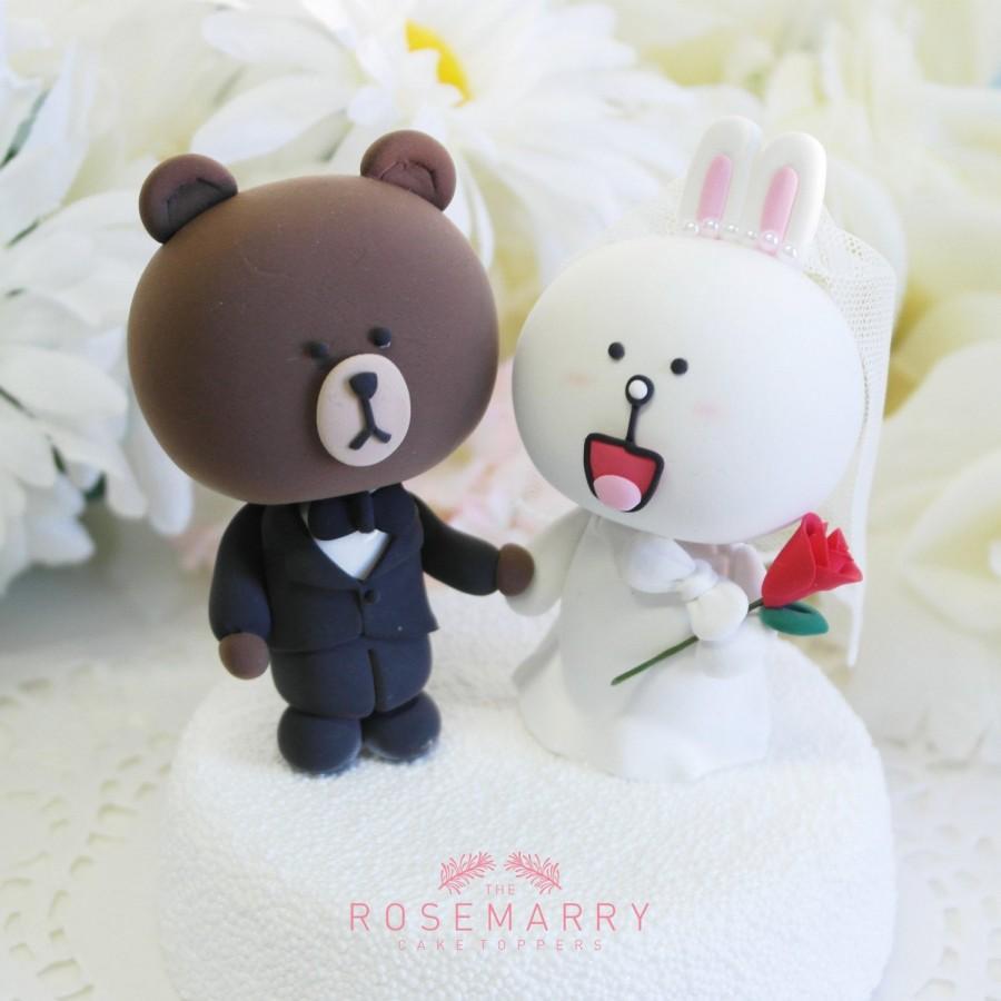 Свадьба - Custom Wedding Cake Topper - Cute Line Character theme