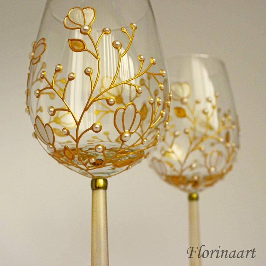 Mariage - Pearl anniversary glasses, 30th anniversary glasses, Pearl wedding anniversary gift, Pearl wedding, Wine glasses, Pearl glasses