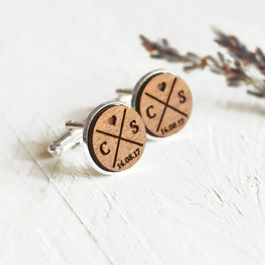 Personalised Hand Made Wooden /& Silver Plated Cufflinks Wedding Engraved free