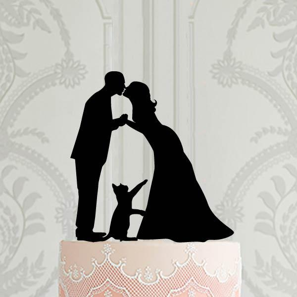 Wedding - Custom Wedding cake topper with cat, Bride and groom with pet cake topper, Cake Decoration, Wedding , Custom cake topper