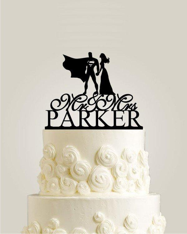 Mariage - Superman and Bride Cake Topper, Super Hero Cake Topper for Wedding, Personalized Wedding Cake Topper with Mr and Mrs