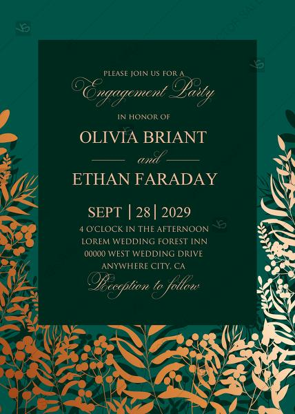 Mariage - Greenery herbal gold foliage emerald green wedding invitation set engagement party card template PDF 5x7 in edit online