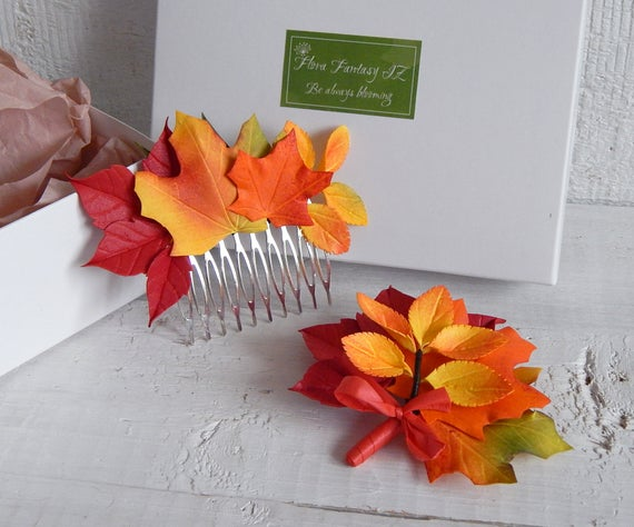 Wedding - Fall wedding hair comb Boutonniere set Autumn headpiece Leaves hair piece Bridal hairpiece Rustic wedding accessories