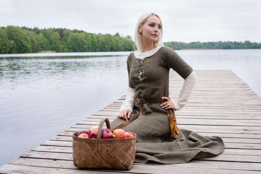 زفاف - Medieval linen dress, Viking style dress, Kirtle, Celtic dress, Fantasy LARP dress