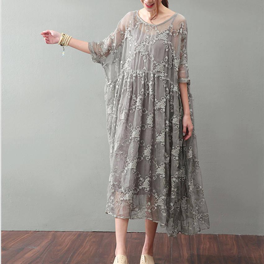 Wedding - Loose silk cotton dress,bat-wing sleeve long dress,flower embroidery maxi dress,party dress,wedding dress
