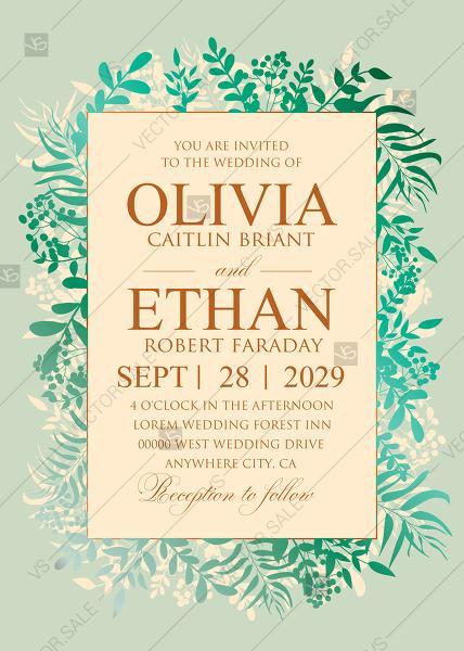 Свадьба - Greenery gold foil pressed wedding invitation set spring mint green PDF 5x7 in customizable template