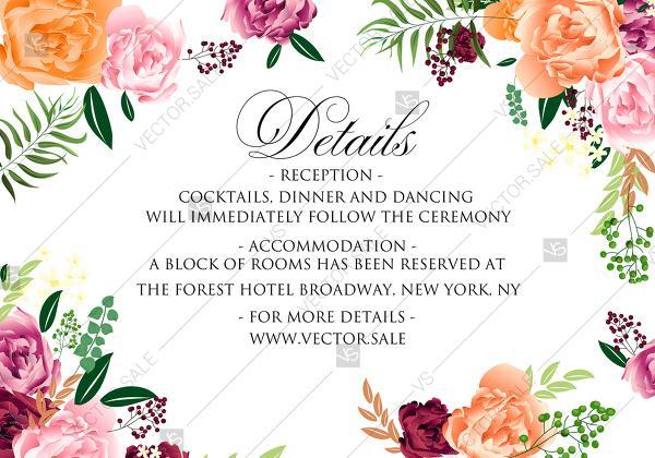 Wedding - Watercolor pink marsala peony wedding details card invitation set PDF 5x3.5 in invitation editor