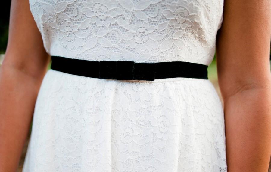Свадьба - little black belt, stretch velvet belt, black Bridal sash, velvet bow belt, bridesmaids belt, elastic bridal belt, fitted wedding sash