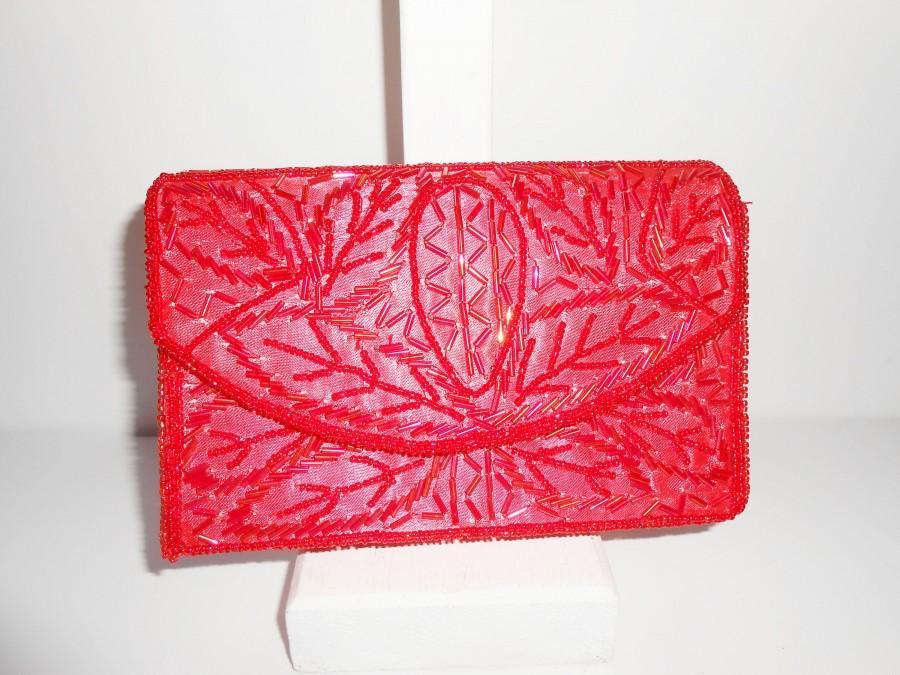 Свадьба - Vintage Red Evening Bag, Red Beaded Clutch Handbag,  EB-0584