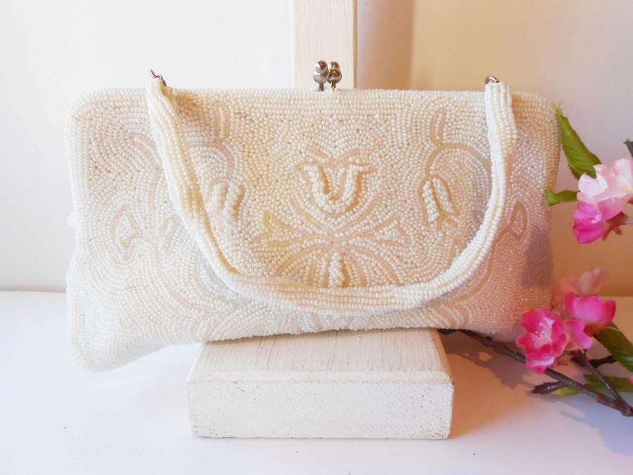 Свадьба - Vintage White Bead Wedding Bag, Beaded Handbag, EB-0684