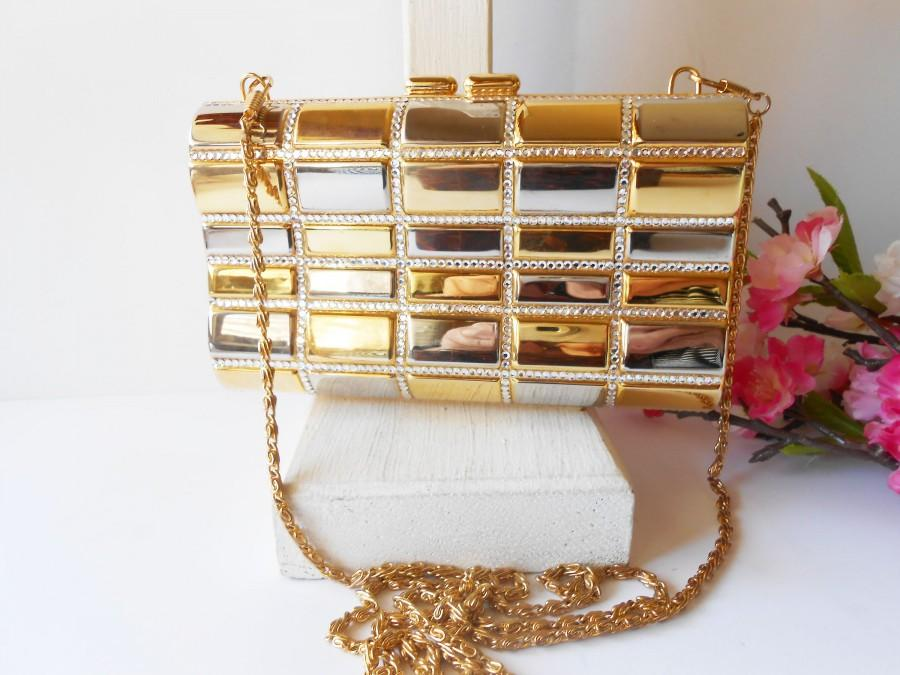 زفاف - Glamorous Gold Silver Evening Bag, Rhinestone Trim, Vintage Evening Bag EB-0599