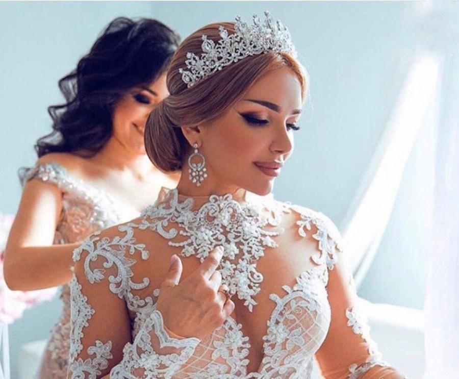 Hochzeit - Bridal,Tiara with Earrings,Crystal Tiara,Swarovski Tiara,Crystal Wedding Crown,Rhinestone Tiara,Wedding Tiara,Diamante Crown,Silver Crown