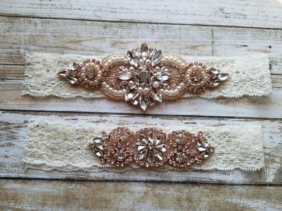 Wedding - Sale -Wedding Garter and Toss Garter-Crystal Rhinestones & Pearls with Rose Gold Setting Garter Set - Style G37001RG