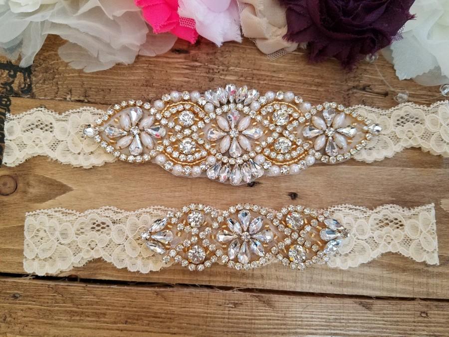 Wedding - Sale -Wedding Garter and Toss Garter-Crystal Rhinestone with Gold Details - CHAMPAGNE Garter Set - Style G20908G