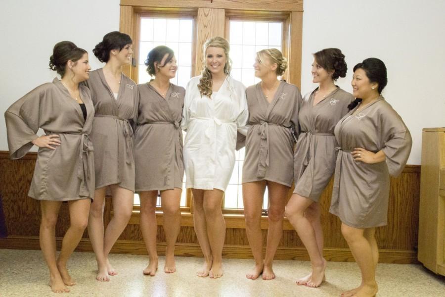 Wedding - Bridesmaid silk robe Taupe bridesmaid dressing gown personalized robes bridesmaids gift silk satin robe kimono robe