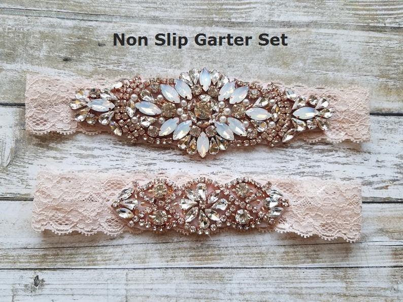 Wedding - Sale -Wedding Garter and Toss Garter-Crystal Rhinestones with Rose Gold Details - BLUSH LACE Wedding Garter Set - Style G90770