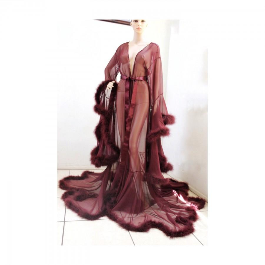 Wedding - Luxury Sheer Fur Robe Lingerie Burgundy Wine / Feather trim robe with satin ties / burgundy lingerie / fur trim robe