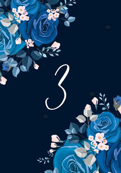 زفاف - Navy blue pink roses royal indigo sapphire floral background wedding Invitation set PDF 3.5x5 in table place card edit template