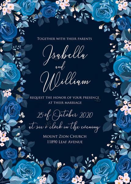 زفاف - Navy blue pink roses royal indigo sapphire floral background wedding Invitation set PDF 5x7 in