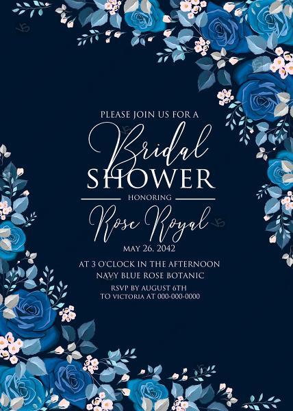 Wedding - Navy blue pink roses royal indigo sapphire floral background wedding Invitation set PDF 5x7 in bridal shower create online