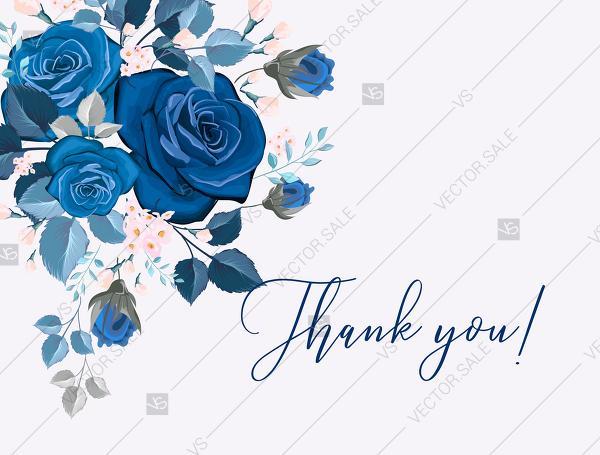 زفاف - Navy blue pink roses royal indigo sapphire floral wedding Invitation set PDF 5x7 in thank you card customizable template