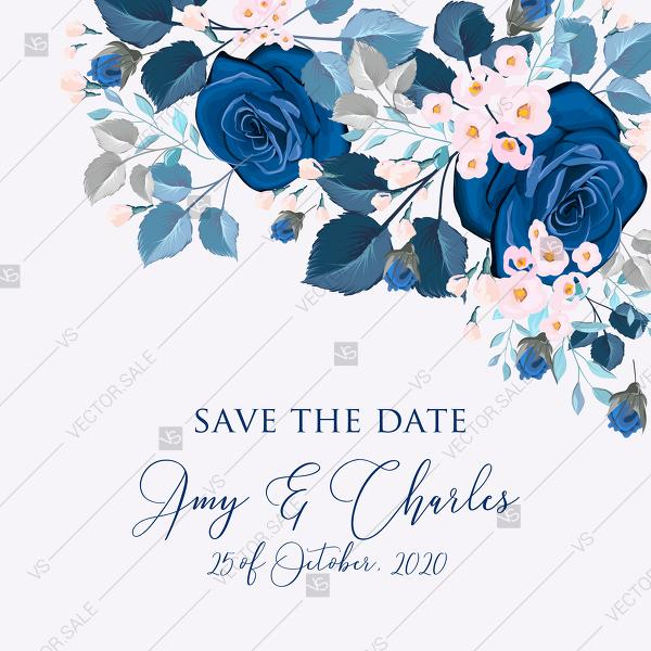 Wedding - Navy blue pink roses royal indigo sapphire floral background wedding Invitation set PDF 5.25x5.25 in save the date personalized
