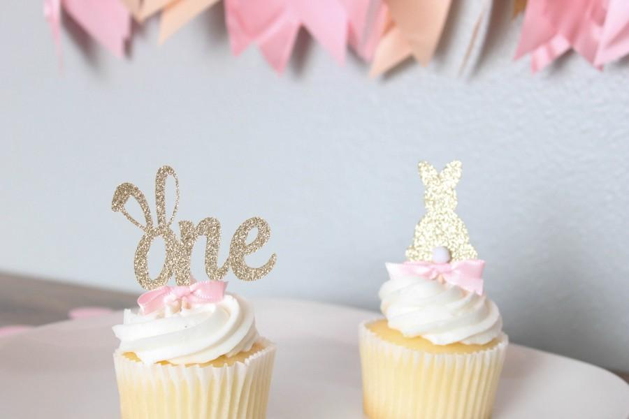 Свадьба - Some bunny is one cupcake toppers; 12ct; gold and pink bunny first birthday party treat dessert pick toppers; bunny birthday decor