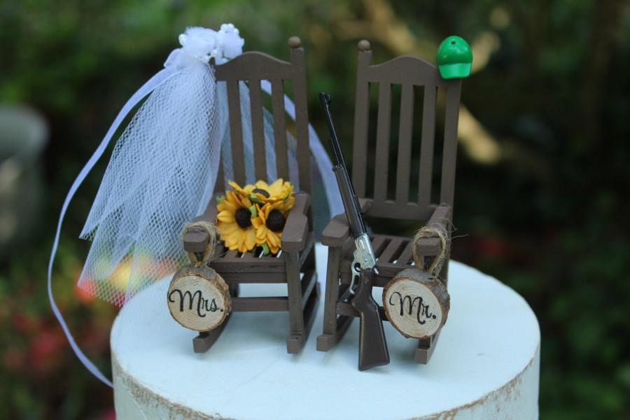 Hunting Wedding Cake Topper 6 Inch 4 Inch Bride Groom Rocking Chairs Country Rustic Wooden Mr Mrs 2960390 Weddbook