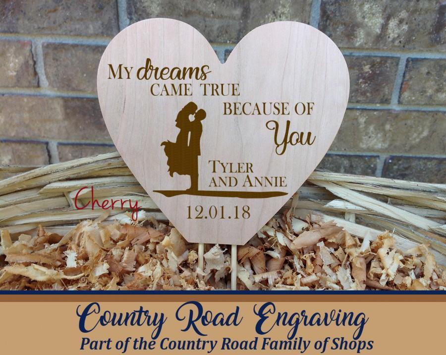 زفاف - Wooden Heart Wedding Cake Topper - My Dreams Came True Because Of You - Bride and Groom Silhouette - Personalized with First Names and Date