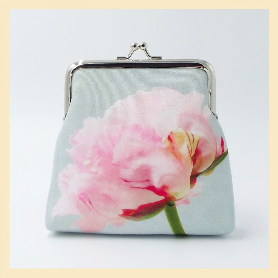 Mariage - pink purse with peony, bridesmaid gift