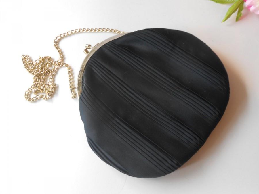 Mariage - Vintage Walborg Black Evening Bag, Classic Style Black Handbag,   EB-0244