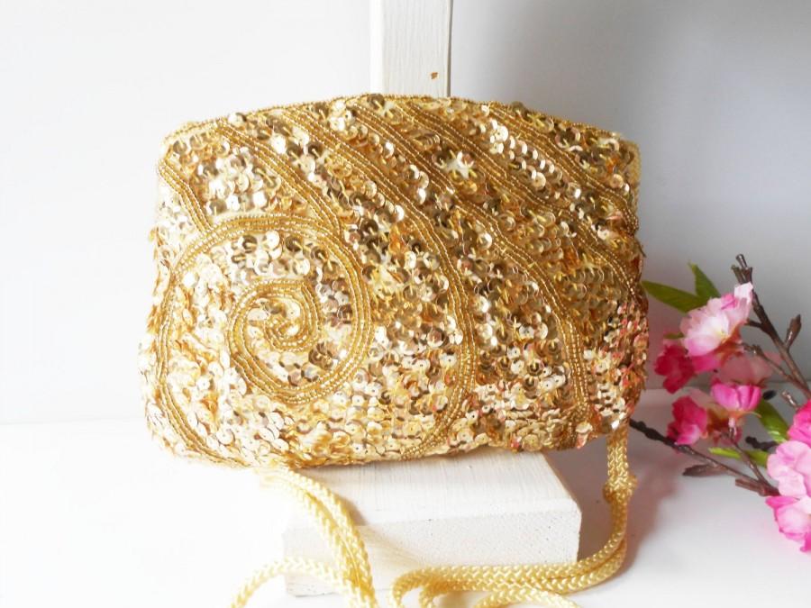 Свадьба - Vintage Gold Evening Bag, Beaded Gold Clutch Handbag,   EB-0024