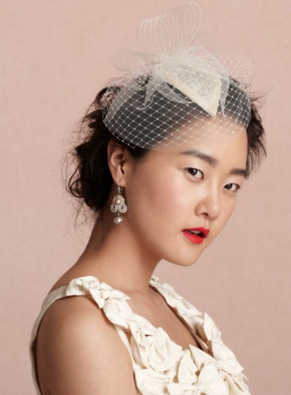 Mariage - Bridal Veil Headpiece Short Veil Birdcage Veil Hat Garden Tea Party Wedding Headpiece