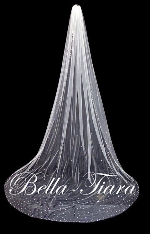 """Mariage - 144"""" long crystal veil,  cathedral wedding veil, royal cathedral veil,  crystal cathedral wedding veil, crystal veil with blusher"""